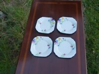 4 china teaplates hand-painted 1930's by Gladstone China