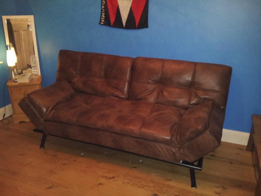 Texas Sofa Bed In Faux Leather Excellent Condition