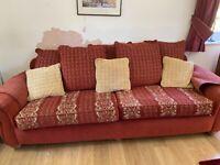 2 piece sofa set and matching footstool / storage