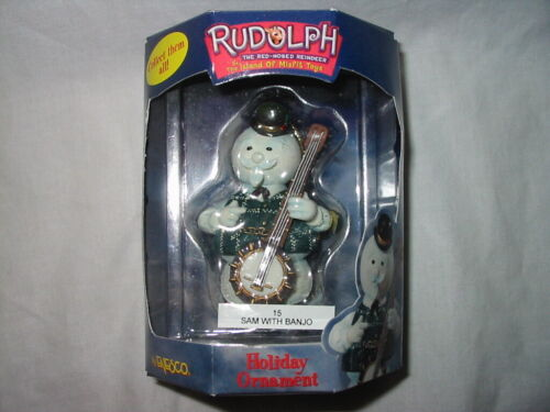 SAM THE SNOWMAN With Banjo Ornament Enesco Rudolph Island of Misfit Toys #882623