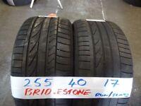SET OF 4 MATCHING 255 40 17 BRIDGESTONE R/FLATS 6mm TREAD £70 PAIR SUP & FITD £120 SETopn sat 9-5pm