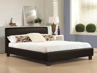 Free & Fast Delivery /// Double Leather Bed & Mattress Brand New Black / Brown