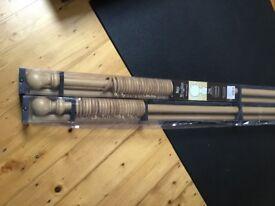 Woodline Wood curtain pole, light oak, 28mm by 2.4m.