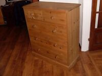 SOLID PINE CHEST OF DRAWERS, HEIGHT 112CM, WIDTH 95CM, DEPTH 42CM