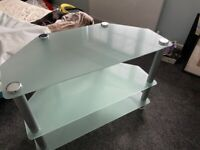 Frosted Glass/Silver TV Stand