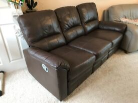 Sofa - 3 Seater Brown Leather Recliner