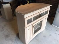 TV - HiFi Corner Cabinet with DVD-Video Storage Limed Oak Finish