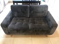 2 x Chic grey suede material three seater sofas, wooden legs