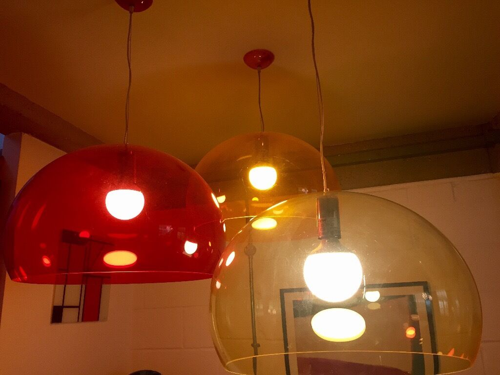 Reduced iconic kartell fly pendant lights for sale great iconic kartell fly pendant lights for sale great secondhand condition red aloadofball Choice Image