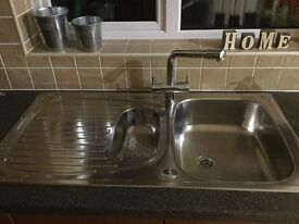 One and a half bowl kitchen sink and mixer tap in excellent condition for sale
