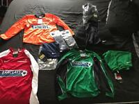 Football jerseys, socks, shorts, and goalkeeper shorts