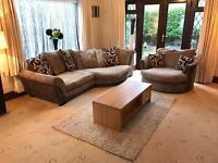 Harvey's Brown Suede Jumbo Cord 4 Seater Corner Sofa + Swivel Chair