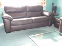 Dark brown leather sofa, armchair and footstool, beautiful quality less than one year old £2,500 new