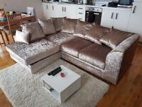 Mink Crushed Velvet Corner Sofa Couch - Like NEW
