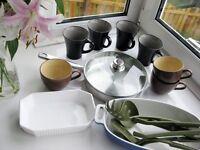 15 PIECE KITCHEN ITEMS, FRYING PAN, MUGS, UTENCILS, MISC - NEW