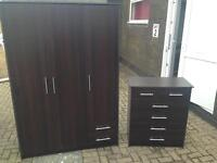 Chocolate brown triple wardrobe with 2 drawers and matching 5 drawer chest of drawers