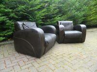 2 Art-Deco Dark-Brown Leather Armchairs