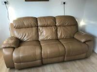 Harvey's Beige tan leather electric recliner 3 Seater sofa