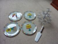 Vintage style retro lovely cup cake stand, plates, and cake cutter slice