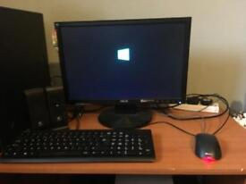 Computer + Monitor w/ Logitech speakers and mouse and keyboard