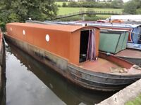 40ft Canal boat shell for sale. Prepared hull, motor and superstructure complete, needs fitting out
