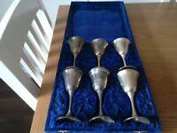 Silver goblets in velvet case