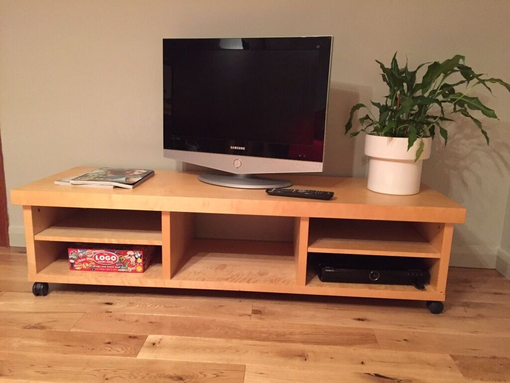 tv table with storage space in beech from ikea reduced. Black Bedroom Furniture Sets. Home Design Ideas