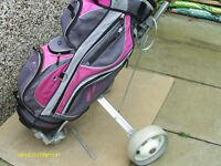 LADIES GRAPHITE GOLF CLUBS FULL SET IN POWACADDY CART BAG/TROLLEY