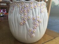 Ornate textured ceramic plant pot