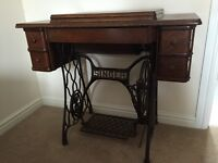 Antique Singer Sewing Machine and Side Table