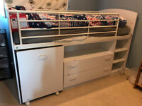 Single bed, mid sleeper with desk and drawers