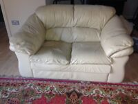 2 & 3 seater leather sofas. Well used but OK with throws