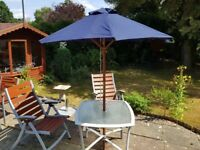 Garden Patio Set with Parasol, table and two high back adjustable chairs / sun loungers