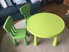 IKEA Kids Childrens Green Plastic Table and Chair