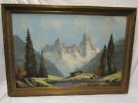 Large oil on canvas painting mountain scene, gilt framed, bargain