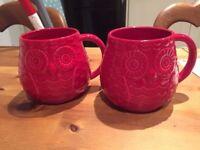 2 x John Lewis Owl Mugs - Never Used
