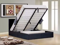 4ft6 Double Ottoman Leather Storage Bed Frame, Orthopaedic Mattress Express Delivery