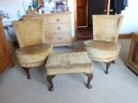 Pair Antique Bedroom Chairs and Foot Stool