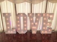 Giant 4FT LIGHT UP LOVE LETTERS FOR SALE Perfect for WEDDINGS £550