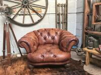 TETRAD GRAND TOUR OSKAR BROWN LEATHER CHESTERFIELD ARMCHAIR