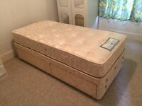 SEALY SINGLE DIVAN BED WITH 2 DRAWS AND POSTUREPEDIC MATTRESS,CAN DELIVER