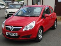 09/09 Vauxhall Corsa 1.2 Active 3dr, Flame Red. **6 Months Warranty, MOT May 2018**