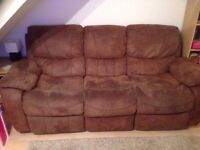 Brown suede 3 seater manual recliner