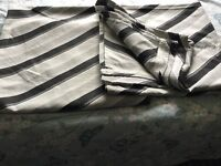 Grey black floor length curtains