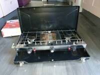 Camping stove with grill. Twin hob hardly used