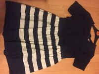 Girls Navy blue and white striped dress for 9 years old.
