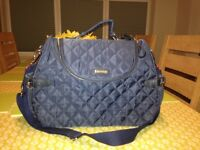 Storksak navy quilted changing bag
