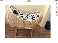 Mothercare snug Moses basket with rocking stand and lining