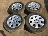"""For sale - Vauxhall vectra / Astra / Zafira 16"""" original alloy wheels - nearly new tyres"""