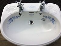 Ceramic Charlotte cut insert sink with taps. North Lowestoft collection only
